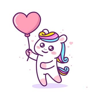 Unicórnio fofo com balão em forma de coração