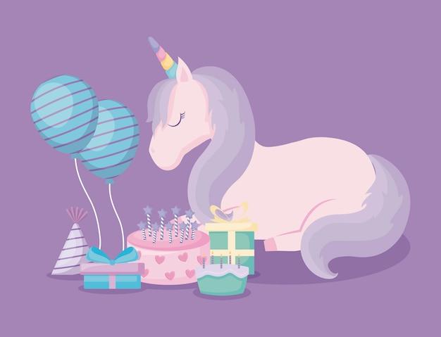 Unicórnio fofo com balões de hélio e conjunto de ícones