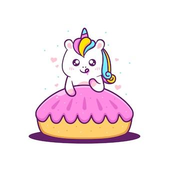 Unicórnio fofo com bolo de torta rosa