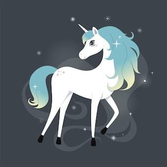 Unicórnio fofo com cabelo brilhante e arco-íris sobre fundo escuro com estrelas