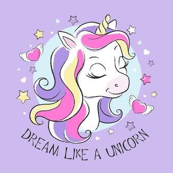 Unicórnio fofo com cabelo e corações coloridos, sonhe como uma ilustração de unicórnio