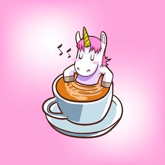 Unicórnio fofo com café