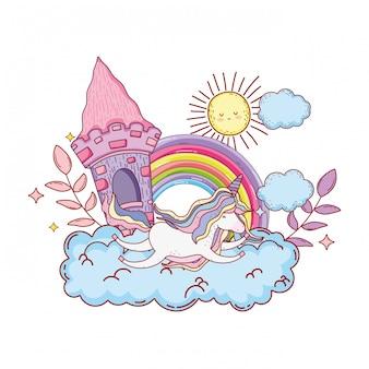 Unicórnio fofo com castelo e arco-íris na nuvem