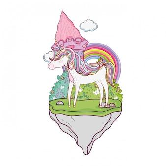 Unicórnio fofo com castelo e arco-íris