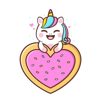 Unicórnio fofo com coração em formato de rosquinha rosa