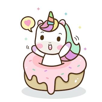 Unicórnio fofo com donut gostoso