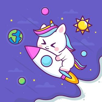 Unicórnio fofo com foguete no espaço