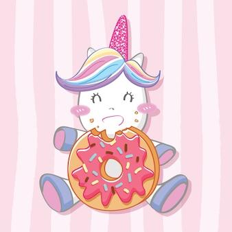 Unicórnio fofo com fundo de donut