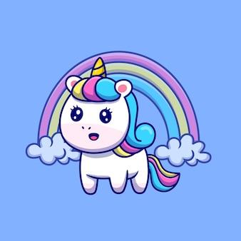 Unicórnio fofo com ilustração de arco-íris de desenho animado