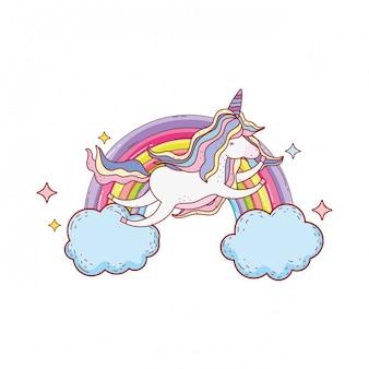 Unicórnio fofo com nuvens e arco-íris