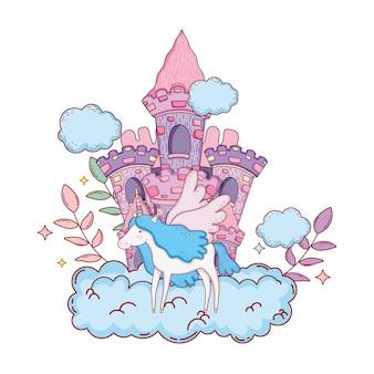 Unicórnio fofo com nuvens e castelo