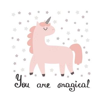 Unicórnio fofo com slogan gráfico, você é mágico, engraçado, colorido, pônei, personagens, desenhos animados