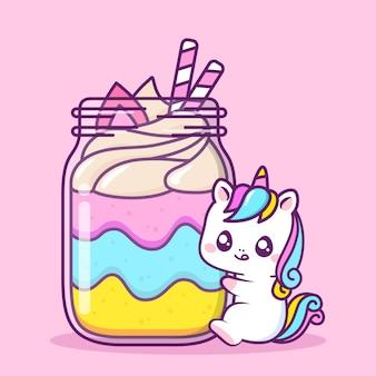 Unicórnio fofo com sobremesa grande na jarra