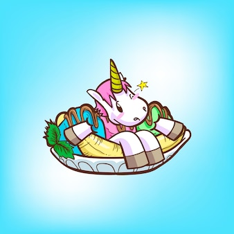 Unicórnio fofo com sorvete
