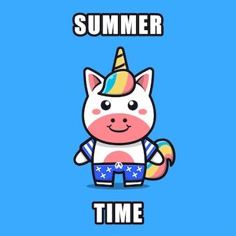 Unicórnio fofo com um tema de verão ilustração animal conceito de verão