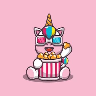Unicórnio fofo comendo pipoca e assistindo filme em 3d