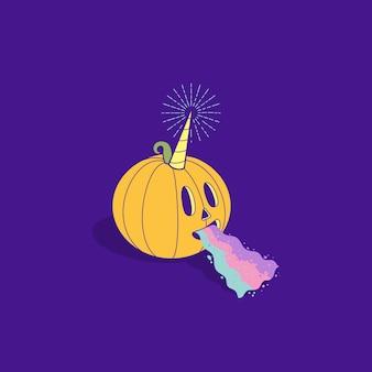 Unicórnio fofo de abóbora de halloween com arco-íris