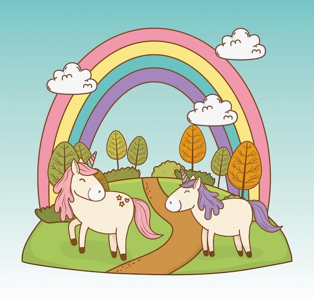 Unicórnio fofo de conto de fadas com arco-íris na paisagem