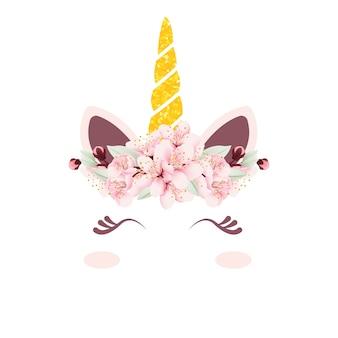 Unicórnio fofo de vetor com coroa floral
