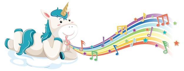 Unicórnio fofo deitado na nuvem com símbolos de melodia no arco-íris