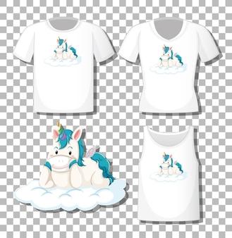 Unicórnio fofo deitado sobre o personagem de desenho animado da nuvem com um conjunto de diferentes camisas isoladas em um fundo transparente