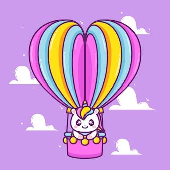 Unicórnio fofo dentro de um balão de ar