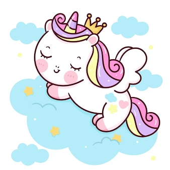 Unicórnio fofo desenho animado princesa pégaso dormindo na nuvem animal kawaii