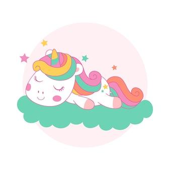 Unicórnio fofo dormindo em uma nuvem no estilo kawaii de desenho animado