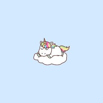 Unicórnio fofo dormindo em uma nuvem