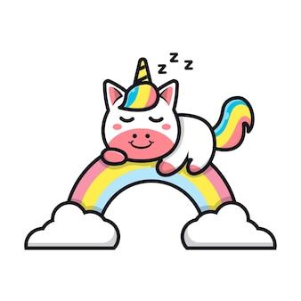 Unicórnio fofo dormindo na ilustração do arco-íris