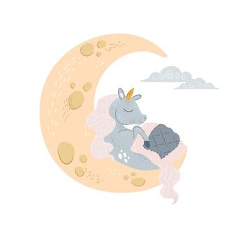 Unicórnio fofo dormindo na lua sob o cobertor com os olhos fechados.