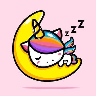 Unicórnio fofo dormindo na lua