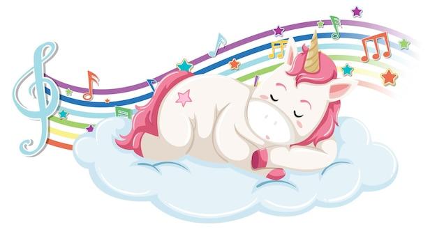Unicórnio fofo dormindo na nuvem com símbolos de melodia no arco-íris