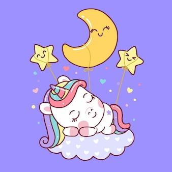 Unicórnio fofo dormindo na nuvem isolada no roxo