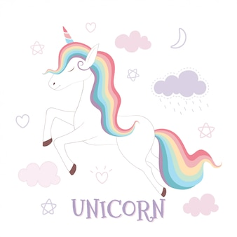 Unicórnio fofo e arco-íris no fundo do céu cor de rosa