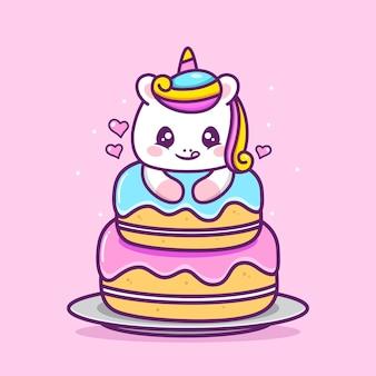 Unicórnio fofo e feliz com bolo grande