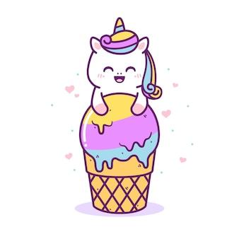 Unicórnio fofo e feliz com sorvete grande
