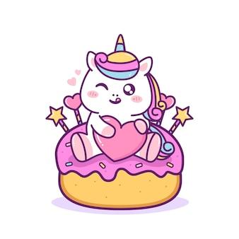 Unicórnio fofo e feliz sentado no bolo