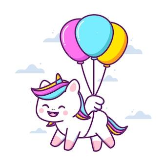 Unicórnio fofo e feliz voando com balões