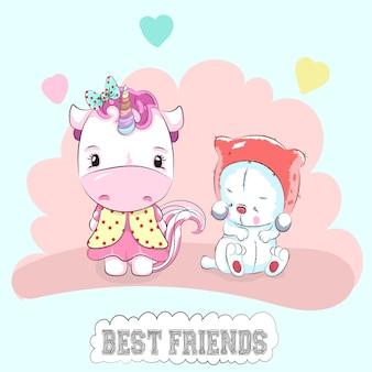 Unicórnio fofo e mão de gato dos desenhos animados desenhada
