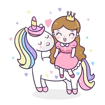 Unicórnio fofo e pequena princesa
