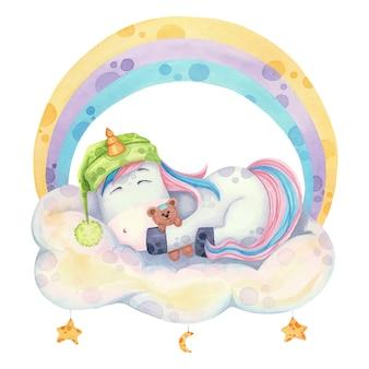 Unicórnio fofo em estilo cartoon, dormindo em uma nuvem sob um arco-íris. ilustração em aquarela