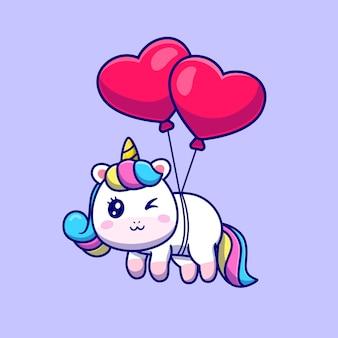Unicórnio fofo flutuando com ilustração de balão de amor