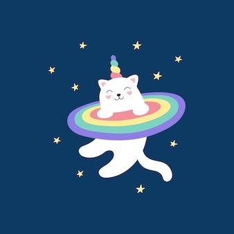 Unicórnio fofo gatinho mágico voa no espaço