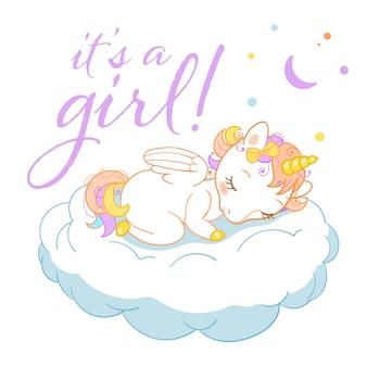 Unicórnio fofo mágico em estilo cartoon com insígnias caligráficas é uma garota. doodle unicórnio dormindo em uma nuvem.