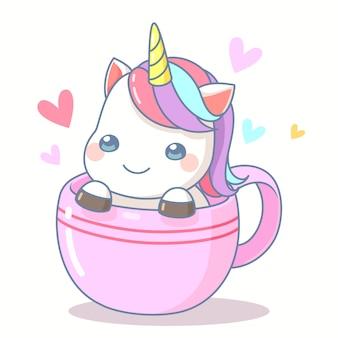 Unicórnio fofo na xícara de café