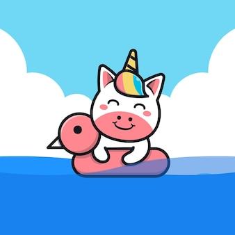 Unicórnio fofo nadando com ilustração do anel de natação