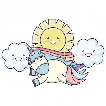 Unicórnio fofo no arco-íris com nuvens e personagens de kawaii do sol
