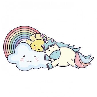 Unicórnio fofo no arco-íris com nuvens e personagens de kawaii do sol