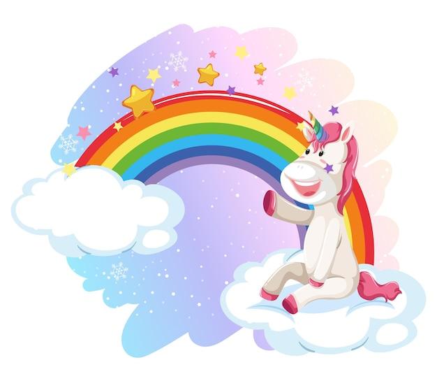 Unicórnio fofo no céu pastel com arco-íris
